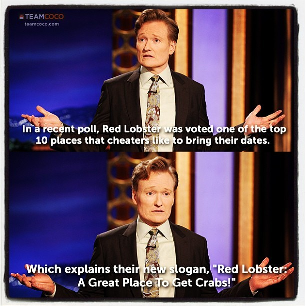 From yesterday's #CONAN monologue. #redlobster  (at Warner Bros Stage 15)