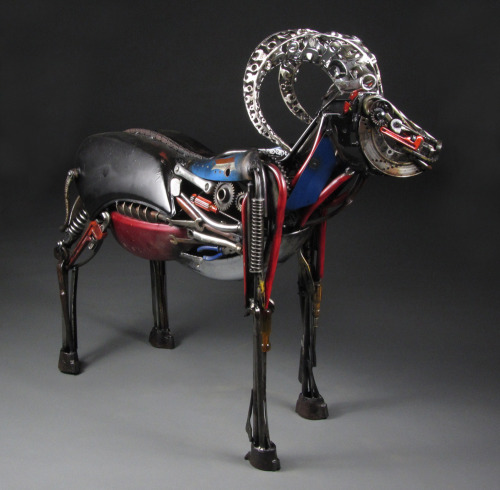 "darksilenceinsuburbia:  Jud Turner. Ebune the Ram, 2012. Welded steel, found objects (95% recycled material), 52 x 60 x 32""."