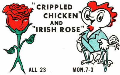 Crippled Chicken & Irish Rose QSL cards have been used by Citizen Band (CB) radio folks for many years to indicate that they have talked together on a certain radio frequency, date and time.