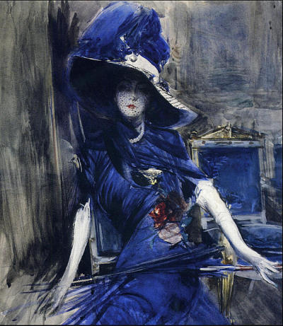 composition-improvisation:  Giovanni Boldini, The Divine in Blue, c. n/d