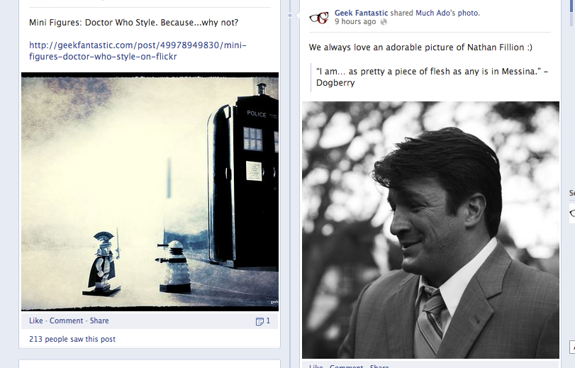 Our Facebook looks pretty adorable right now.  Full credit goes to a Much Ado About Nothing photo of Nathan Fillion and Doctor Who Mini Figure.  Y'know, fate.