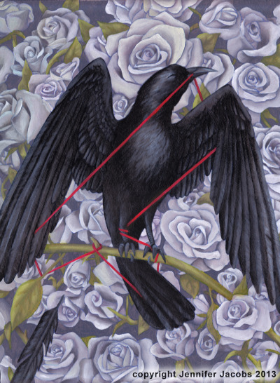 jennjacobs:  Crow and string Oil on board, 12x16