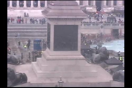 """I screen shot this from a live web cam feed in Trafalgar Square in London…"" by Staci Frederick on Facebook."