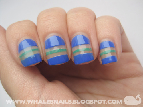 Tape Stripes http://www.whalesnails.blogspot.com/2013/02/nail-art-sunday-tape-stripes.html