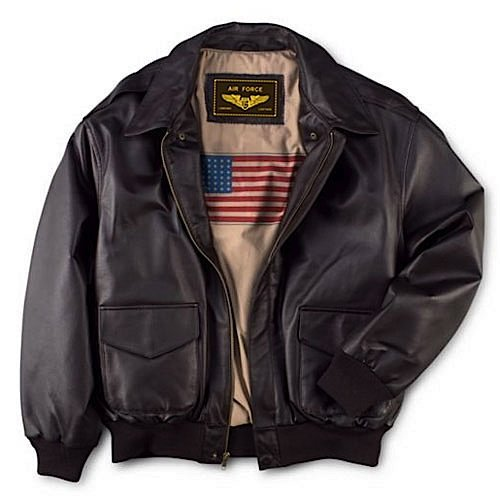 Men's Air Force A-2 Flight Leather Bomber Jacket From Landing Leathers List Price:	$299.99 - $359.99 Price:$149.99 - $179.99 This flight jacket made to the same unyielding standards as the authentic A-2 military version. Soft lamb touch supple nappa is sewn with a dual entry pockets, plus ribbed cuffs and hem to snug in warmth. Imprinted U.S flag lining.