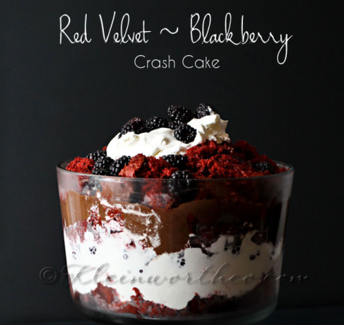 red velvet blackberry crash cake.