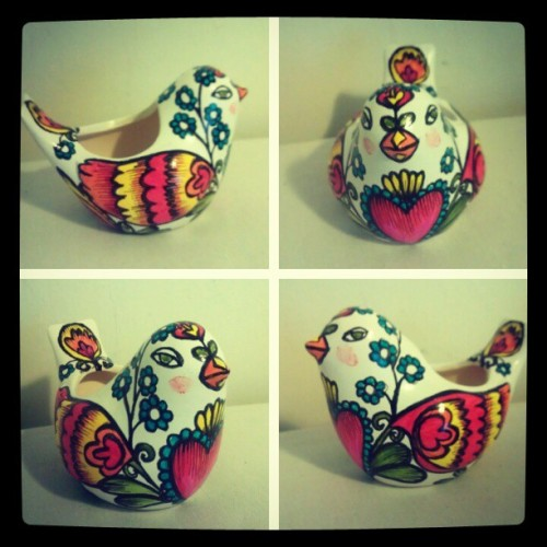 a #custom #painted bird planter styled after my polish folk art mug.