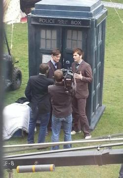 natural-phenomenon:  gallifreyan:  Matt Smith and David Tennant on set.From @HWBCymru on twitter.  I may or may not make it through the 50th anniversary.