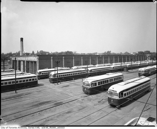 Streetcars in Toronto's Coxwell Car House, 1961 (by Toronto History)