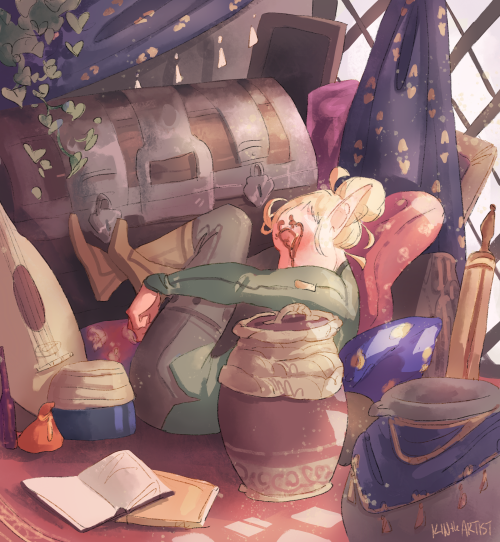 kintheartist:   I spy with my little eye, one tired Lavellan… (Sera's room | Cullen's room)  PRECIOUS ELF!