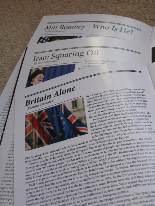 Even if it's only a sixth form magazine, I really like my writing being published. It feels like a physical legacy, something which may live on well beyond my time. Plus it's good fun to try and talk about what I find fascinating in the world in a way which is (hopefully!) a little engaging and useful to people who have totally different interests.