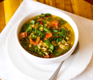 Red Lentil, Barley and Swiss Chard Soup
