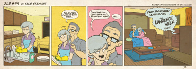 jl8comic:  JL8 #99 by Yale Stewart Based on characters in DC Comics. Creative content © Yale Stewart. Like the Facebook page here! Archive For My Parents  LOL THE SNUGGIES.