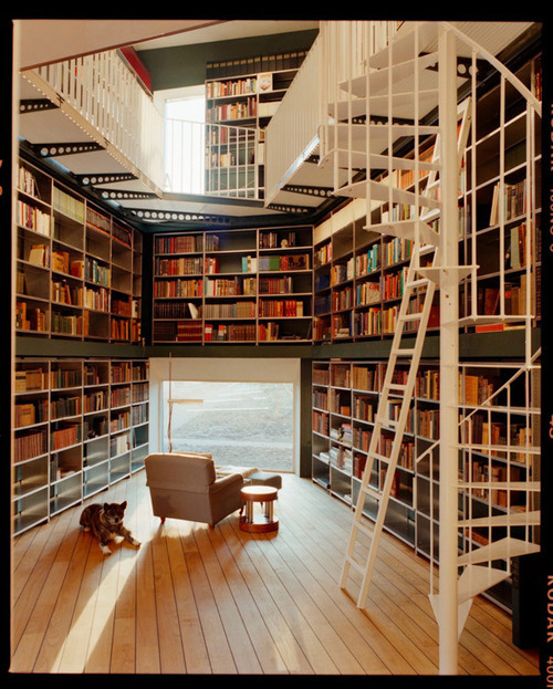 It's Heaven! Home library designed by architecture firm Ilai.