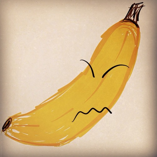 Grumpy Banana is Grumpy.  Drawn with Paper, edited in Instagram.