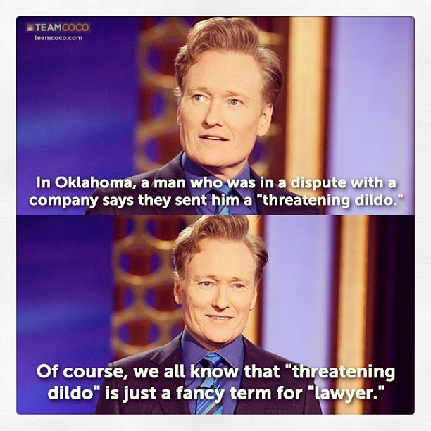 From yesterday's #CONAN monologue. #Oklahoma #lawyers (at Warner Bros Stage 15)