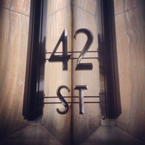 The most stylish and classic 42nd Street sign you'll find anywhere is this one: it's inside the must-be-seen-to-be-believed lobby of the Chrysler Building. #signs #artdeco #skyscrapers #nyc