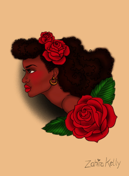 """afro lady head"" tattoo flash design -ZK"