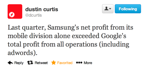 parislemon:  Stated a bit more clearly: Samsung makes more money off of Android than Google makes from all of their businesses combined.  This simply does not seem like a tenable situation.   Had no idea..