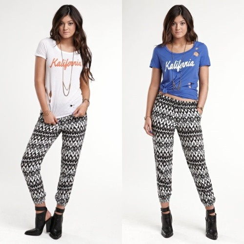 lovekardashfam:  Kalifornia shirts with Aztec print pants/leggings .