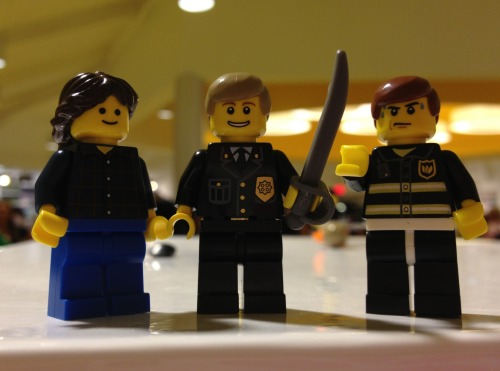 I went to the Lego store and couldn't resist making Lego Sam, Dean, and Cas. Unfortunately they had no lego trench coats handy but I think Cas looks pretty good in uniform. Dean's just happy he found a sword.