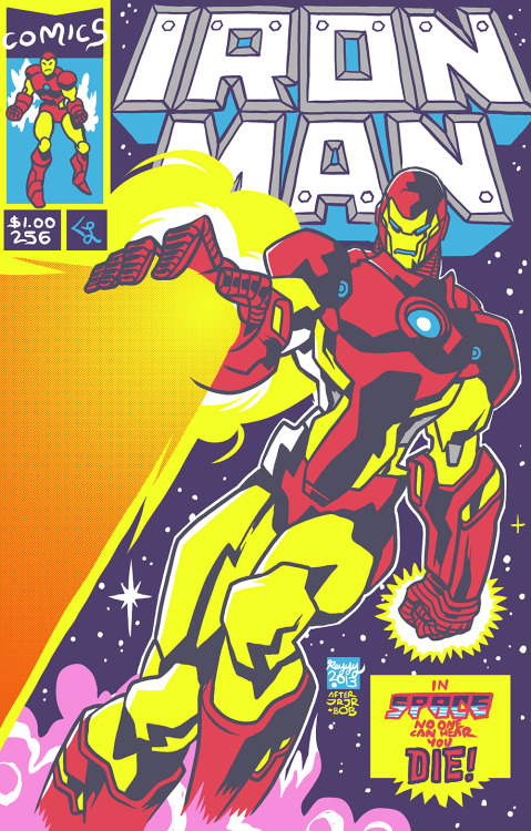 sunbakerey:  i redrew one of my favorite comic book covers: Iron Man #256 drawn by John Romita JR and Bob Layton in 1990. probably one of the first comic book covers i ever saw as a kid that demanded i do this stuff for a life