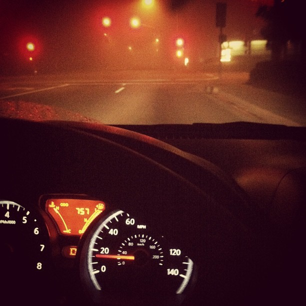 Driving to work at 5AM is hella creepy. #driving #car #nissan #road #instagram #speedometer #fog #weather #early #morning  (at 76 Gas Station)
