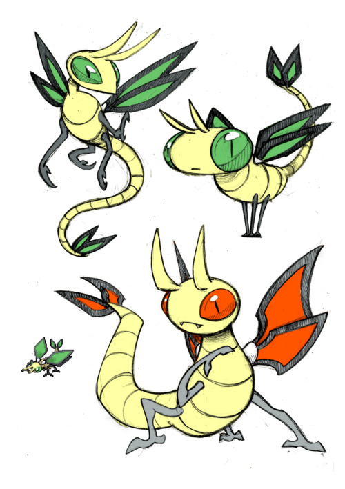 darksilvania:  Vibrava Fifth pokemon sketch, Brivaba I has always bothered me that, being ground/dragon, it looks too much a bug…so I made ir more dragon looking in some of this sketches the second one is just for sillyness