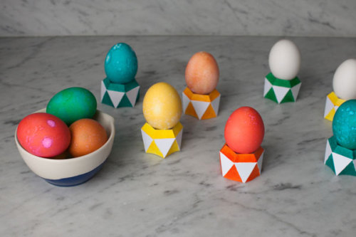 DIY faceted paper egg cups via Oh Happy Day