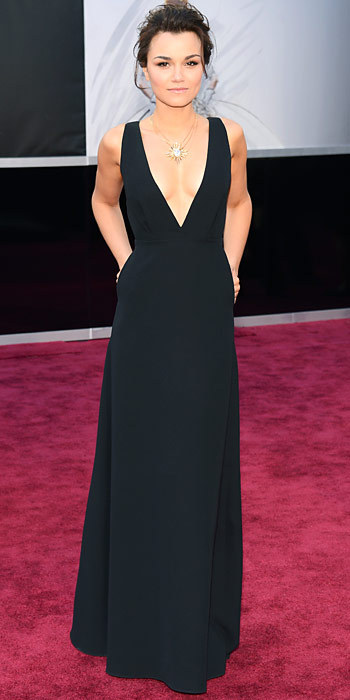 sampaguitanyc:  OSCARS 2013 RED CARPET:  Samantha Barks in a black gown …