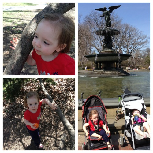 Hugging trees and sitting by a fountain with Matilda in Central Park.