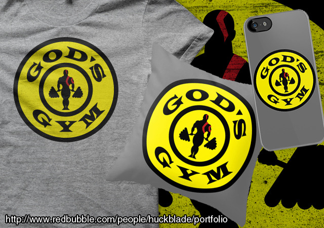 Parody of the Gold's Gym logo featuring Kratos from God of War  Get the print, shirt, sticker, iPhone, or iPad case here or get it as a pillow here