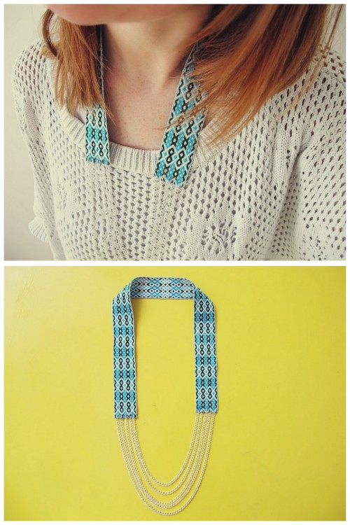DIY Easy Fiona Paxton Knockoff Ribbon and Chains Necklace Tutorial from Teahab here. Really easy tutorial because of how the holes are made in the ribbon. For more Fiona Paxton knockoffs (Thanks, I Made It made the first one I saw which is gorgeous here, and I posted a beyond easy leather multi strand iron-on studded necklace) go here: truebluemeandyou.tumblr.com/tagged/fiona-paxton
