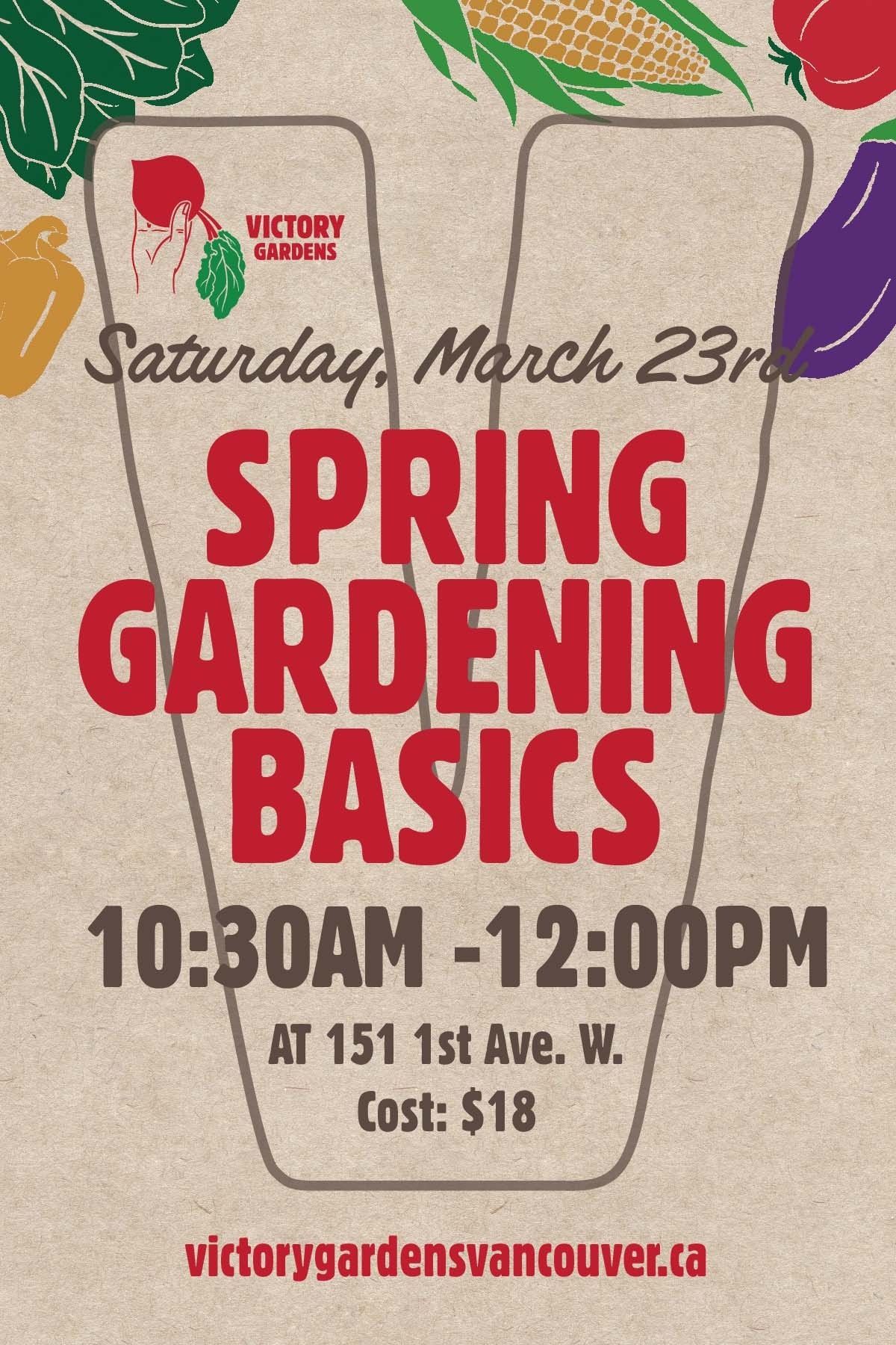 Spring is in the air and our friends over at Victory Gardens are hosting a gardening workshop on March 23rd. This 101 style lecture and demonstrative workshop is geared towards getting you started this Spring. You'll learn the basics of soil, compost, timing and planning, containers, sowing seeds and transplanting. Each participant will receive a pack of seeds and some notes on Spring Gardening Basics.  Sign up here.