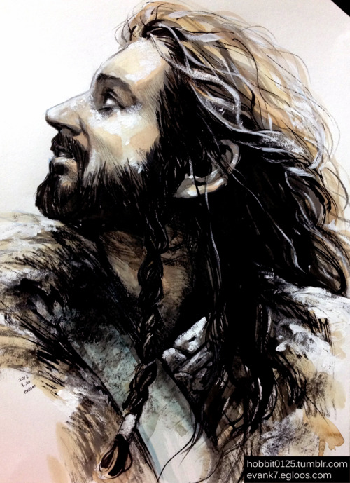 "hobbit0125:  ""Thorin looking at the Warg"" art by evan, 20130320"