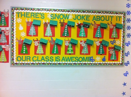 There's snow joke about it… our class is awesome!  Ft. SymmeTREEs & Snowman Puns  The puns flip open to reveal the answer with my students' pictures inside.  Reindeer cardboard cutouts were bought at Michael's for about $2.00 for 25 of them.  Found the symmeTREES on TeacherPayTeachers.  Link above.