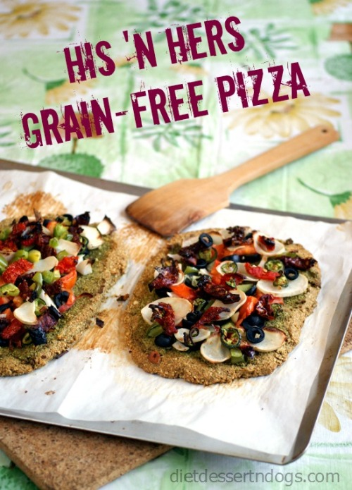 Sometimes, you just want your own pizza. This grain-free crust is great for blended couples like ours (omni/vegan diets)