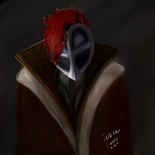 портрет красныеволосы плащ пальто рисунок рисование TobeeFansis маска