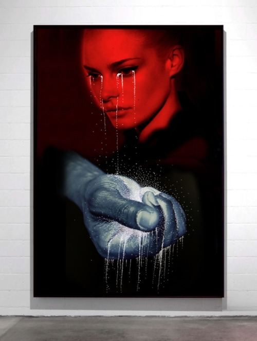 darksilenceinsuburbia:  Daniele Buetti. White Tears on Red Face. Lightbox, 200 x 140 cm.  Website