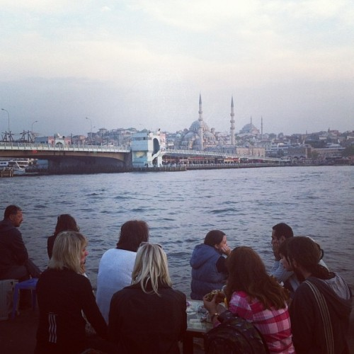 Sunset, fresh fish sandwich and great view near Galata bridge #turkey #istanbul