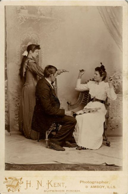 ca. 1870-90's, [cabinet card, staged hold-up of a couple perpetrated by another woman], H. N. Kent via Carl Mautz Vintage Photography & Publishing, Cabinet Cards