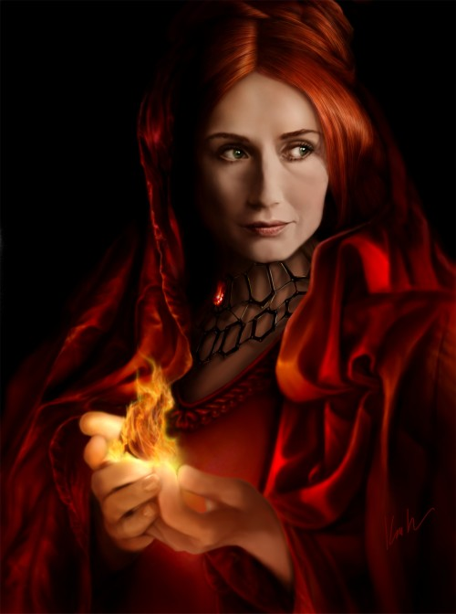 "gameofthrones:  Melisandra, the Red Priestess ""For the night is dark and full of terors"""