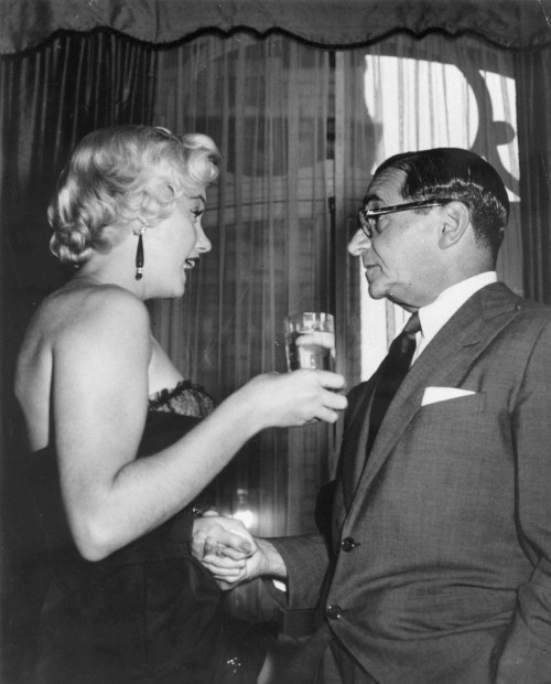 Marilyn with Irving Berlin at a party given for 'The Seven Year Itch' at the St. Regis Hotel in New York City, September 1954.