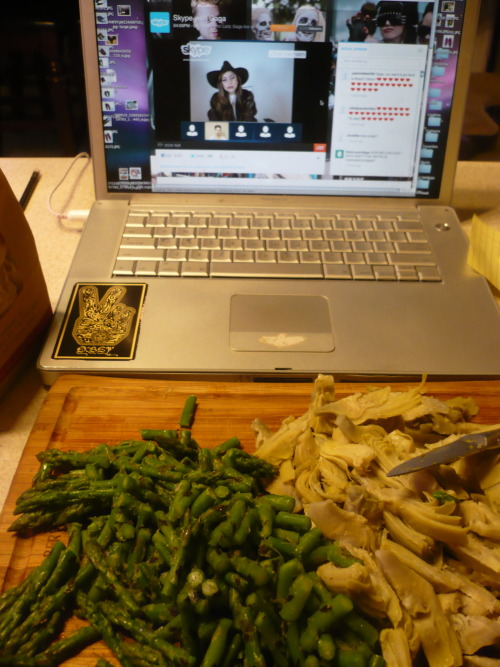 Was making homemade vegan alfredo while watching Gaga's live Skype chat. If none of my close friends are around to sip chardonnay and cook with, I'll make due.