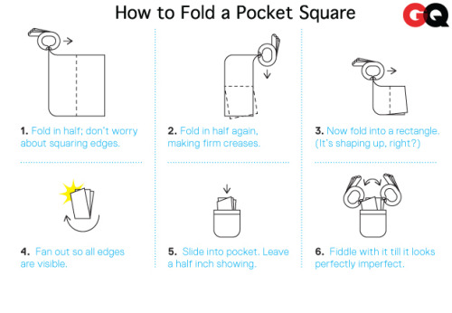marceckocutandsew:  gqfashion:  How to Fold a Pocket Square  And if you don't know, know you know.