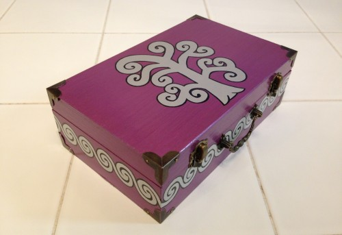 Recent Custom Order:  Small Briefcase Box — Plum Purple w/ Silver Swirl Tree and Swirl Wave Border Original: https://www.etsy.com/listing/84896648/swirl-tree-and-swirl-border-small RavynsNest.etsy.com