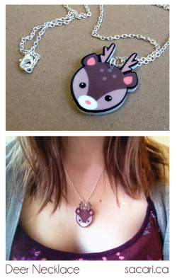 My deer charm necklace is now for sale in my Etsy shop :)