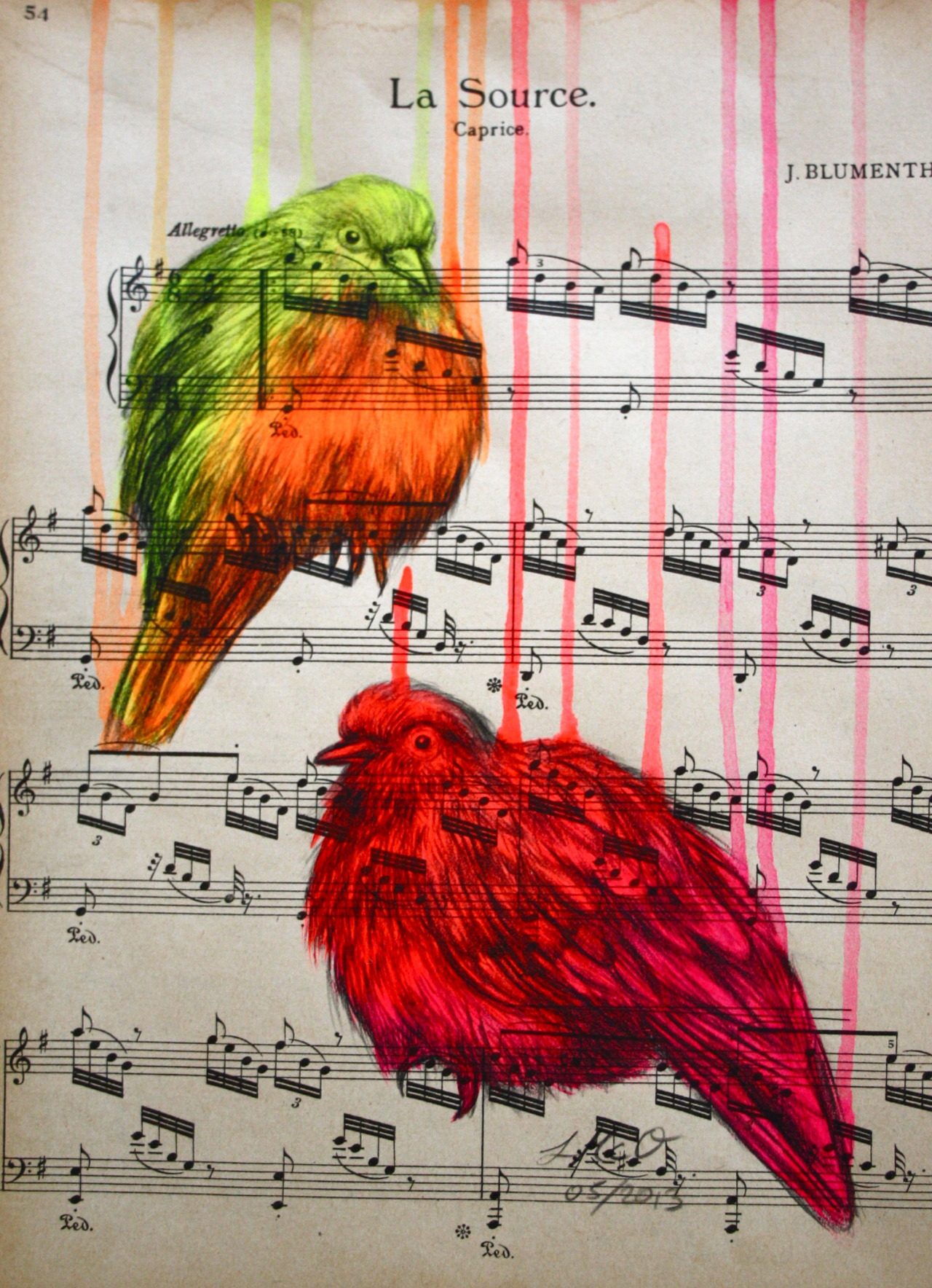 louisemcnaught:  'The Pacifists', acrylic and pencil on old music score, 21x29cm (05/2013) by Louise McNaught