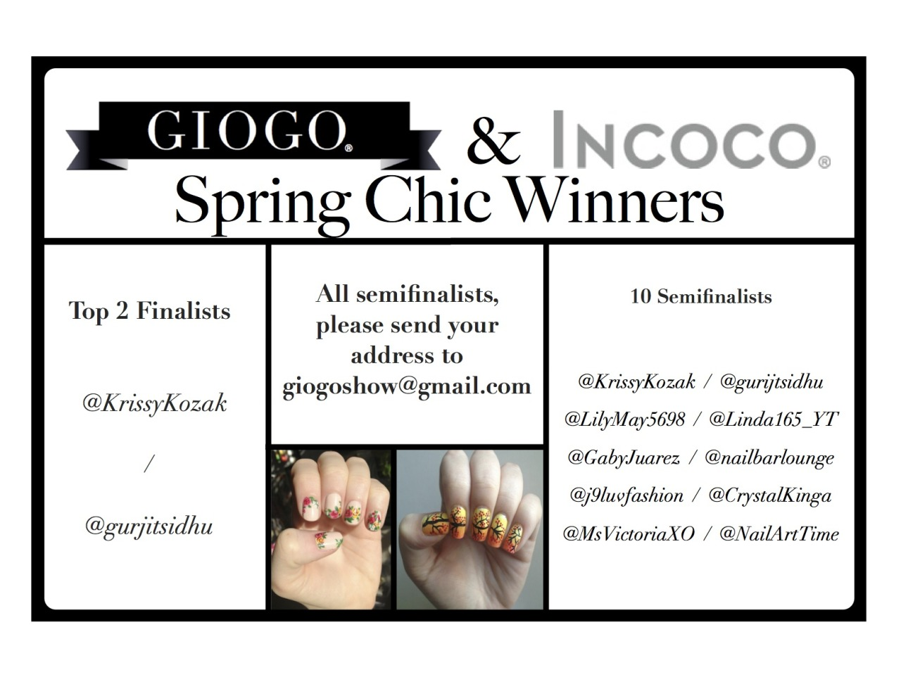 giogo:  The Winners of the #GIOGO x #WinIncoco Spring Chic Contest are announced!  AHH!!! This is the coolest thing ever! Thanks so much Giogo and Incoco!! I (@KrissyKozak) got to be a finalist for my pink floral design and my poppy design was a semifinalist!