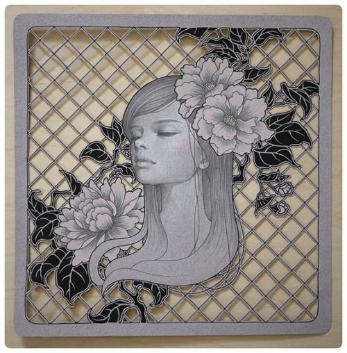 lohrien:  Illustrations by Audrey Kawasaki (ink and graphite on hand cut paper)